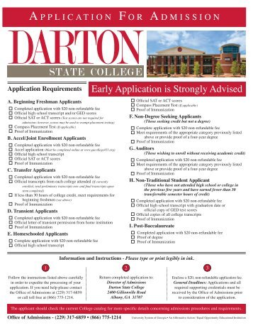Darton College Application For Admission