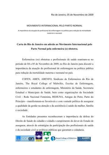 Carta Final do Movimento Inter. pelo Parto Normal - ABENFO ...
