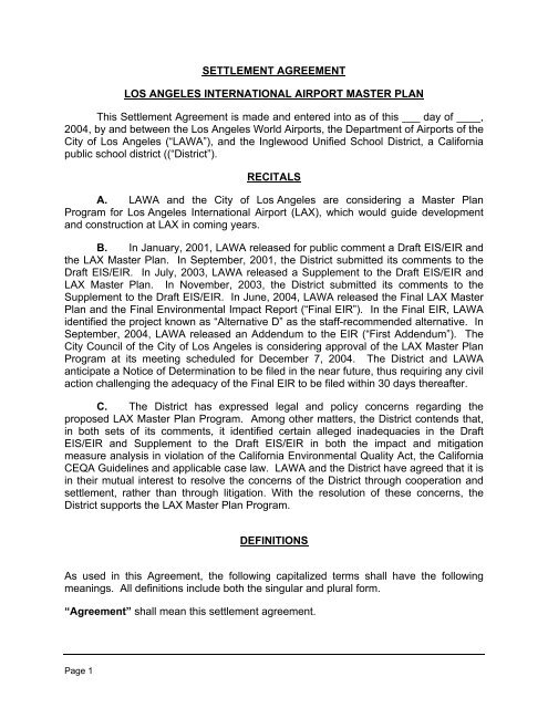 Settlement Agreement Los Angeles International Lax Master Plan