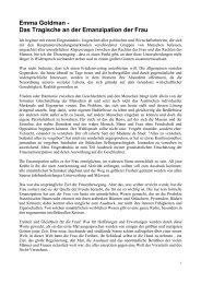 Emma Goldman - Das Tragische an der Emanzipation der Frau