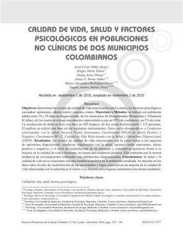 Calidad de vida, salud y factores psicológicos en poblaciones