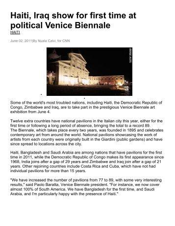 Haiti, Iraq show for first time at political Venice Biennale - Gervasuti ...