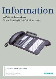 Information - optiPoint 500 Systemtelefone - Siemens