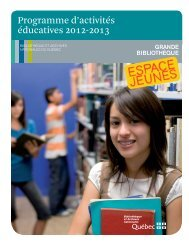 Programme d'activités éducatives 2012-2013 - Bibliothèque et ...