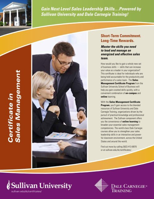 Certificate in Sales Management - Dale Carnegie Training