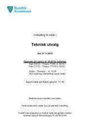 Innkalling og sakskart - teknisk utvalg den 21.11 ... - Bamble kommune