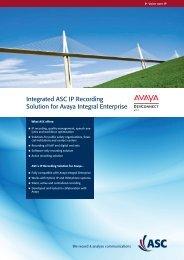 Integrated ASC IP Recording Solution for Avaya Integral Enterprise
