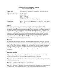 Development of Management Strategies for Bacterial Leaf Spot