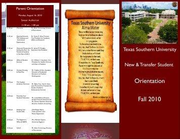 Orientation Fall 2010 - Texas Southern University: ::em.tsu.edu