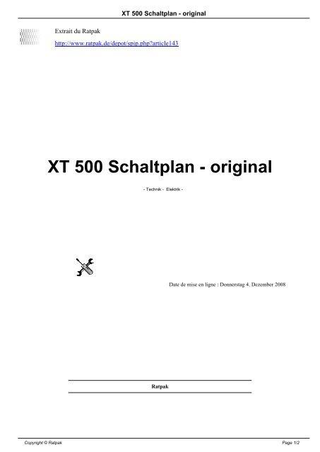 Schaltplan Xt 500 6 Volt