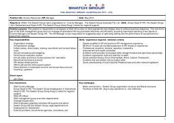 Position title: Human Resources (HR) Manager Date ... - Swatch Group