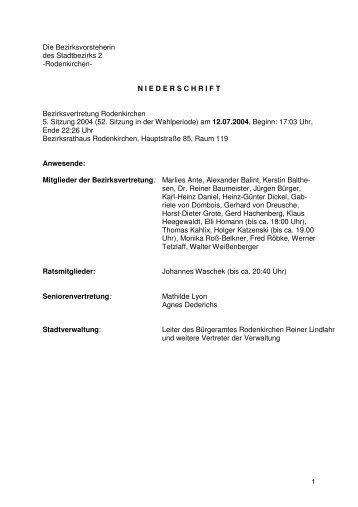 Niederschrift der 53. Sitzung vom 12. Juli 2004 - Stadt Köln