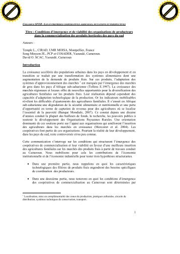 Professionnalisation et autonomisation des Coopératives en ... - Sfer
