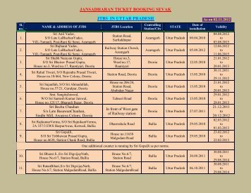 jansadharan ticket booking sevak jtbs in uttar pradesh