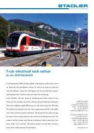 7-car electrical rack railcar for the ZENTRALBAHN - Stadler