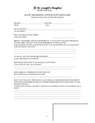 SLEEP DISORDERS CENTER QUESTIONNAIRE