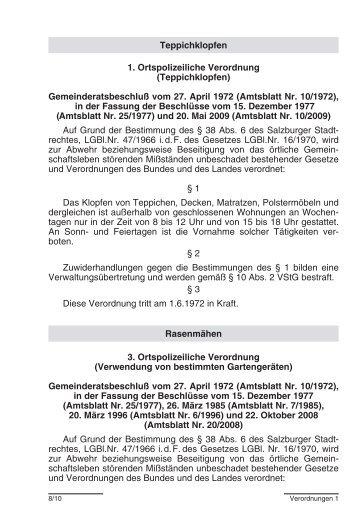 Teppichklopfen 1. Ortspolizeiliche Verordnung ... - Stadt Salzburg