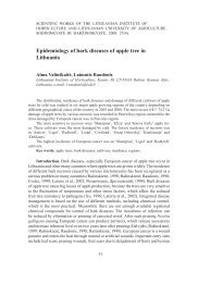 Epidemiology of bark diseases of apple tree in Lithuania