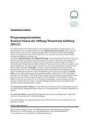 Programmpräsentation Konzert-Saison der Stiftung ... - Stadt Salzburg