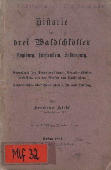 drei Waldschlösser Englburg, Fürstenstein, Saldenburg.