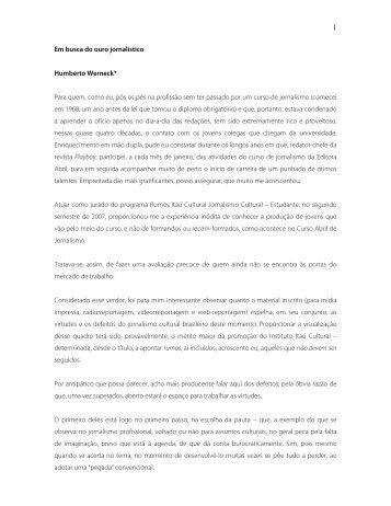 Texto de 4 a 5 mil caracteres com espaços sobre a ... - Itaú Cultural