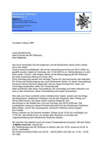 NLFebruar 2009 - Musikverein Weitmars