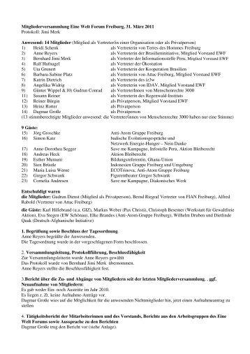 Protokoll der letzten Mitgliederversammlung 31. März 2011