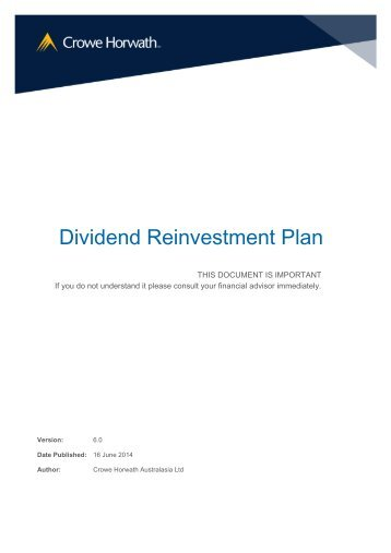 Dividend Reinvestment Plan - Crowe Horwath International