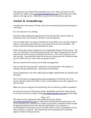 Anxiety & Aromatherapy - Help with Panic Attacks