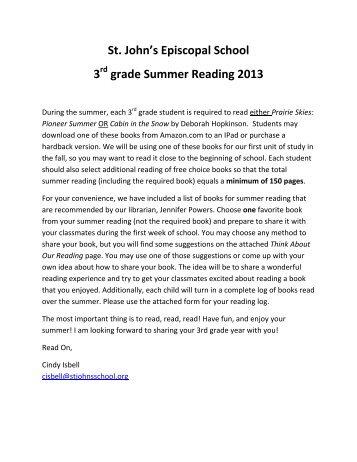 St. John's Episcopal School 3 grade Summer Reading 2013