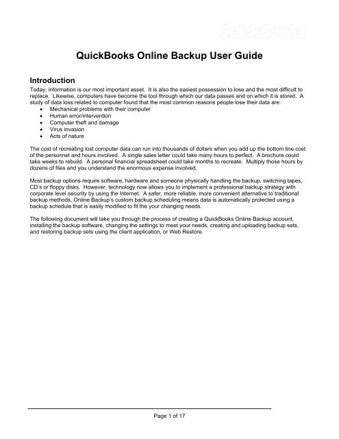 QuickBooks Online Backup User Guide - Support - Intuit