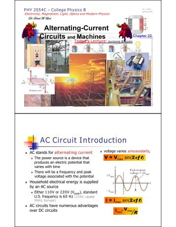 Ch22: Alternating Current, applications - FSU Physics Department