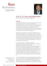Prof. Dr. Dr. Franz-Josef Radermacher - Econ Referenten-Agentur
