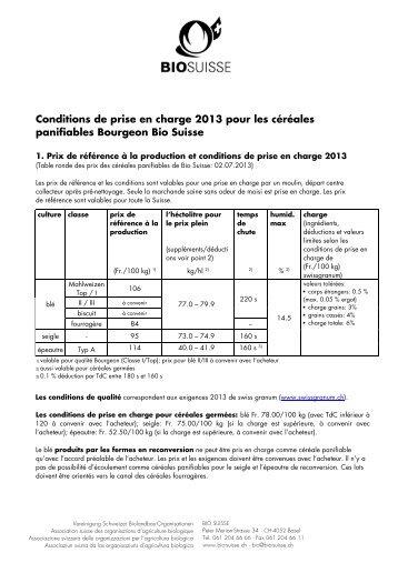 Conditions de prise en charge 2013 pour les ... - bioactualites.ch