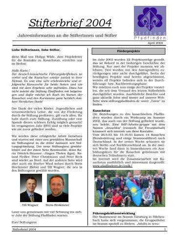 Jahresinformation an die Stifterinnen und Stifter - Stiftung Pfadfinden