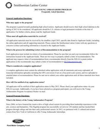 FAQs - Smithsonian Latino Center - Smithsonian Institution