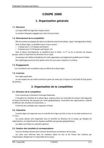 Règlement Coupe 2000 - Fédération Française des Échecs