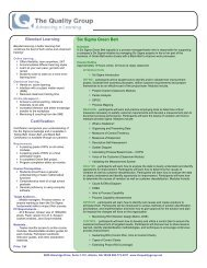 Six Sigma Green Belt Blended Learning ... - The Quality Group