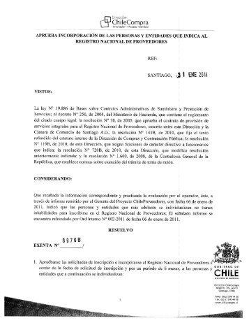 Resolución Proveedores Inscritos Diciembre 2010 - Chileproveedores