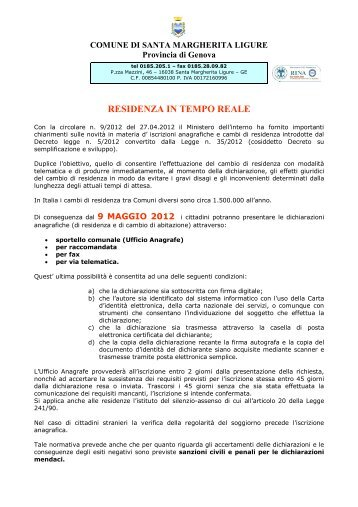 RESIDENZA IN TEMPO REALE - Comune di Santa Margherita Ligure