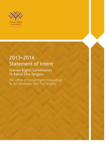 Statement of Intent 2013 to 2016 - Human Rights Commission