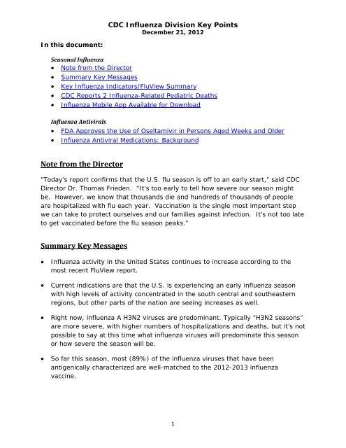 CDC Influenza Key Points Dec 21 2012