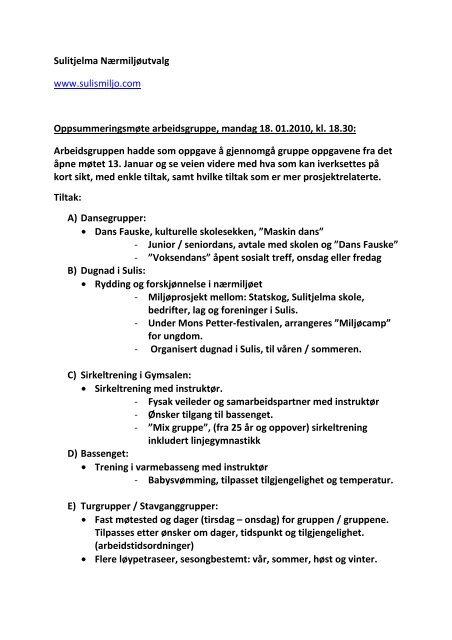 faa81683 Oppsummeringsmøte arbeidsgruppe - Sulitjelma Nærmiljøutvalg