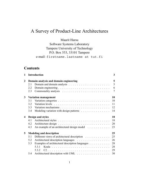 A Survey Of Product Line Architectures Practise
