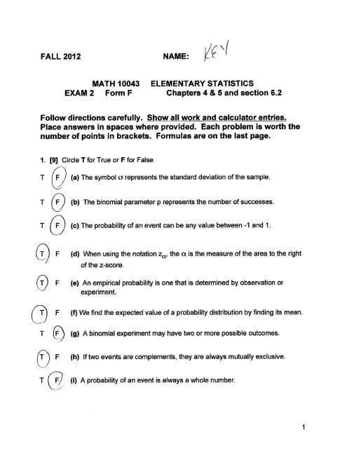 MATH 10043 ELEMENTARY STATISTICS EXAM 2 Form F Chapters