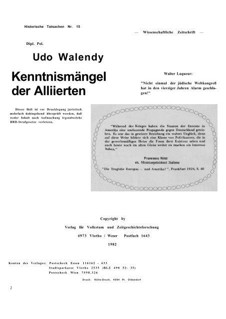 Historische Tatsachen - Nr. 15 - Udo Walendy