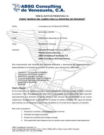 """curso """"manejo del cambio para la industria de ... - ABS Consulting"""