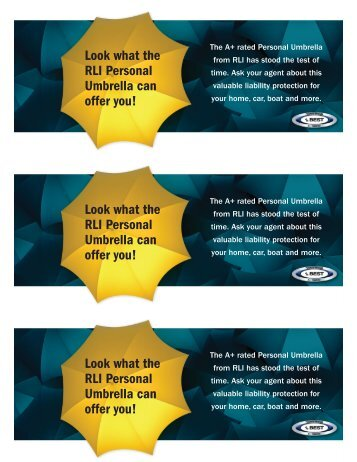 Look what the RLI Personal Umbrella can offer you! Look what the ...