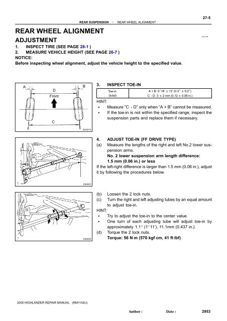 rear wheel alignment adjustment highlander club