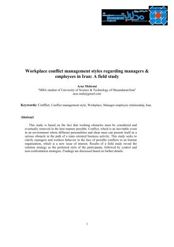 Workplace conflict management styles regarding managers ...